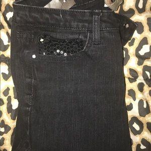Black YMI Skinny Jeans with Sparkling Pockets